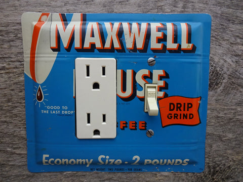 GFCI Combo Switch Covers Made From Vintage Maxwell House Coffee Tins