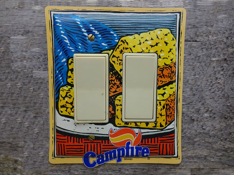 Double Rocker Switch Plates Made From Campfire Marshmallows Tins