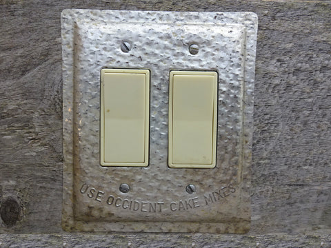 Double Rocker Switch Or GFCI Covers Made From Vintage Baking Pans