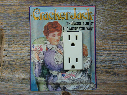 Rocker Switch Plate Or GFCI Cover Made From Cracker Jack Tin