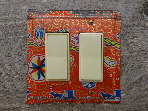 Double Rocker Switch Plates Made From Vintage Candy Tins