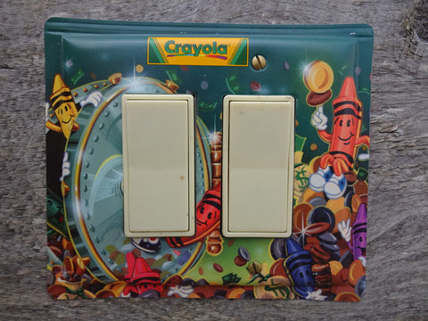 Double Rocker Switch Plates GFCI Covers Made From Crayola Crayons Tins