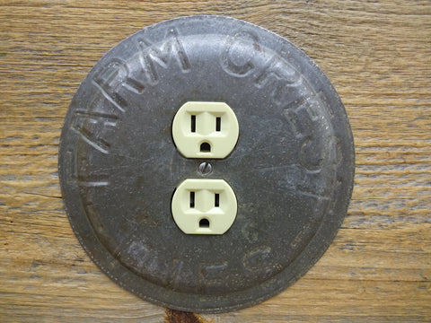 Outlet Covers Made From Vintage Farm Crest Pie Pans