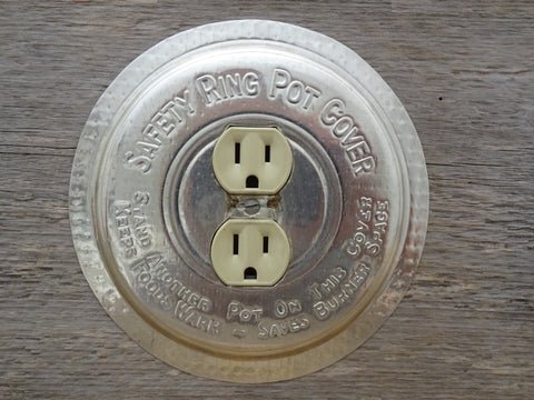 Vintage Round Outlet Covers Made From Ekco Safety Ring Pot Cover