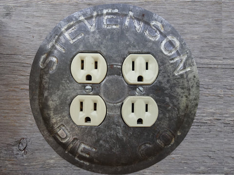 One-Of-A-Kind Round Double Outlet Covers Made From Stevenson Pie Pans