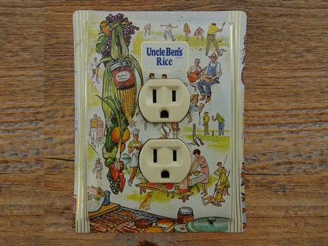 Outlet Covers Made From Uncle Bens Rice Tins Picnic Theme