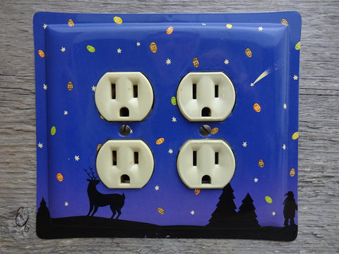 Double Outlet Cover Made From A Purple M&Ms Candy Tin