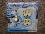 Coke Tin Light Switch Outlet Combo Cover With Coca Cola Polar Bear