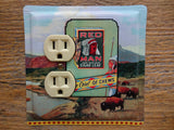 Outlet Covers Made From Old Red Man Indian Tobacco Tins