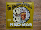 Outlet Covers Made From Red Man Tobacco Tins