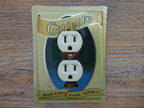 Outlet Covers Made From Vintage Gillette Razors Shaving Tins