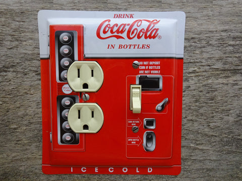 Coke Vending Machine Tins Combo Switch Plate Outlet Covers