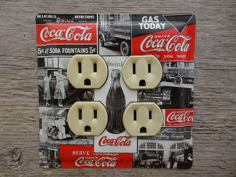 Coca Cola Double Outlet Cover Made From A Unique Black And White Coke Tin OLC-1108D