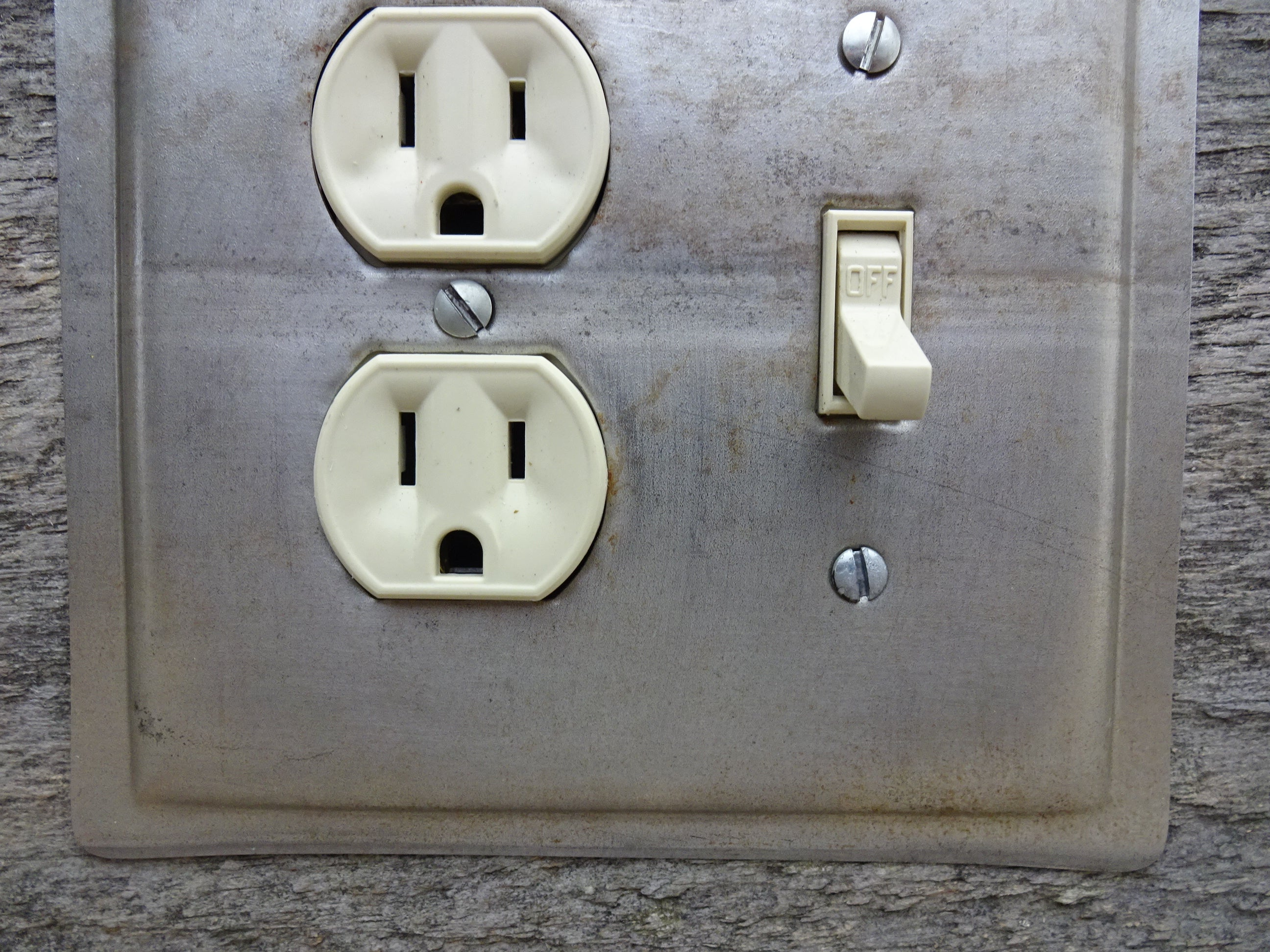 Combo Switch Outlet Cover Made From A Vintage Ekcoloy Baking Pan