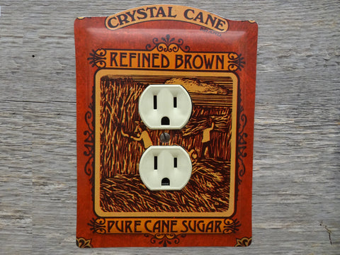 Vintage Outlet Covers Made From Cheinco Crystal Cane Brown Sugar Tins