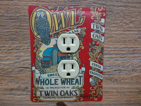 Outlet Covers Made From Owl Oats Tin For Lovers Of Owls