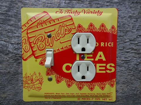Vintage Byrds Tea Cakes Tin Combo Switch Plates Made From Tins