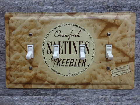 Quad Switch Plates Made From Antique Keebler Saltines Tins