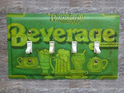 Quad Switch Plates Made From Vintage Ballonoff Tin Beverage Trays
