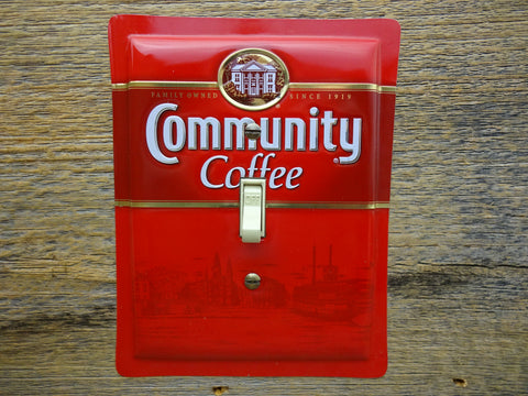 Switch Plates Made From Community Coffee Tins