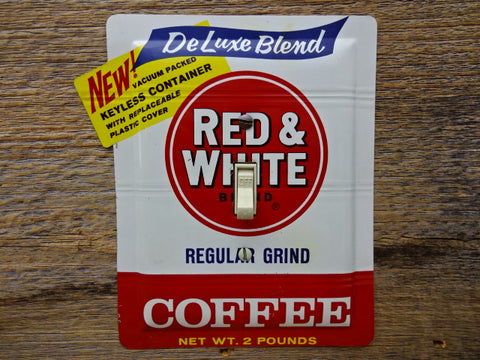 Light Switch Covers Made From Vintage Red & White Coffee Tins
