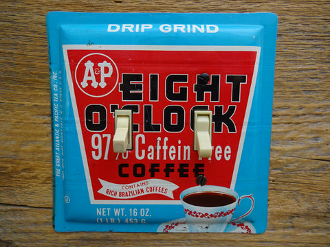 Vintage Switch Plates Made From A&P Eight O'Clock Coffee Tins