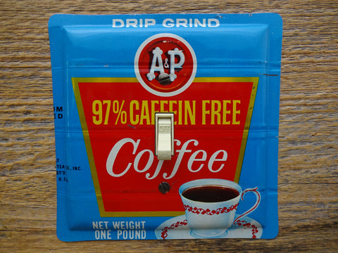 Vintage Switch Plates Made From A&P Coffee Tins