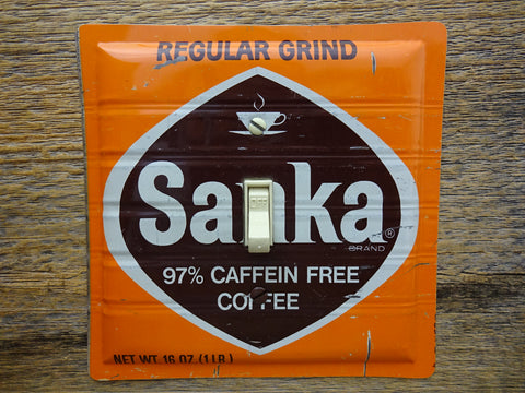 Vintage Switch Plates Made From Sanka Coffee Tins On Sale