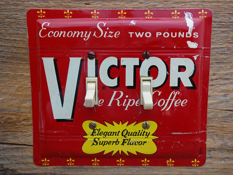 Switch Plate Made From A Vintage Victor Coffee Tin