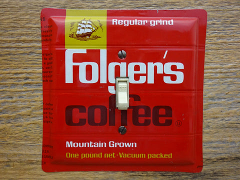 Switch Plate Made From A Vintage Folgers Coffee Tin Can