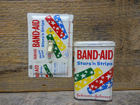 Vintage Switch Plates Made From Unique Band Aid Bandages Tins
