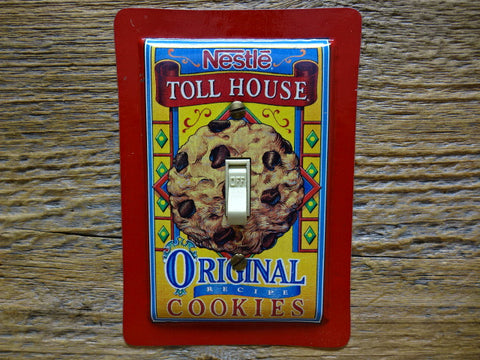 Red Switch Plates Made From Toll House Cookies Tins
