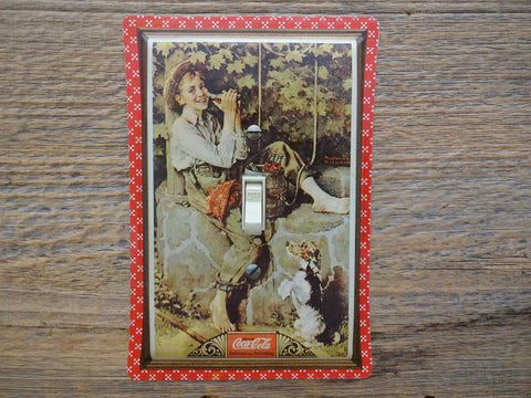 Coca Cola Switch Plates With Norman Rockwell Art Made From Coke Tins