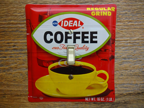 Light Switch Covers Made From Vintage Ideal Coffee Tins