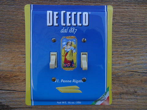 Double Switch Plates Made From DeCecco Pasta Tins