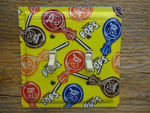 Double Switch Plates Made From Old Tootsie Roll Pops Tins