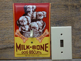 Pekingese Puppies Switch Plates Made From Milk Bone Tins