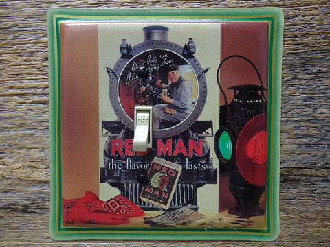 Light Switch Cover Made From A Red Man Tobacco Tin Railroad Theme