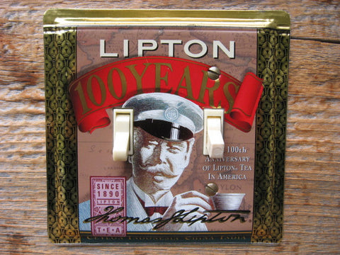 Switch Plate Made From An Old Lipton Tea Tin