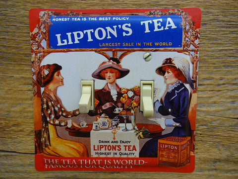 Double Switch Plates Made From Lipton Tea Tins