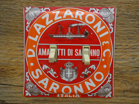 Switch Plate Made From A Italian Lazzaroni Biscotti Tin
