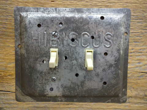 Double Light Switch Covers Made From Vintage Hibiscus Baking Pans
