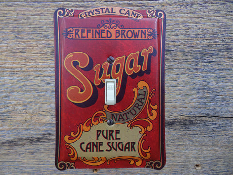 Vintage Switch Plates Made From Crystal Cane Sugar Tins