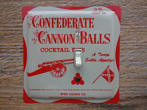 Switch Plates Made From Vintage Byrd Confederate Cannon Balls Tins