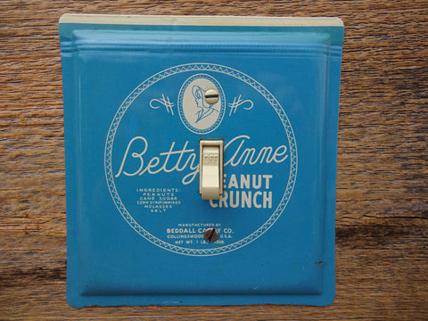 Switch Plates Made From Vintage Betty Anne Peanut Crunch Tins On Sale