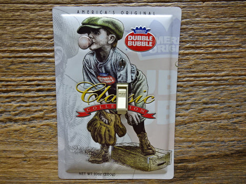 Baseball Switch Plates Made From Dubble Bubble Tins