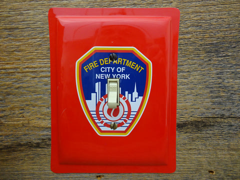 Switch Plates Made From NYC FDNY Fire Department Tins