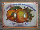 Vintage Peach Preserves Cheinco Tin Double Switch Plates