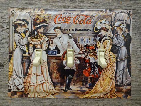 Triple Switch Plate Made From A Coke Coca Cola Fountain Tin