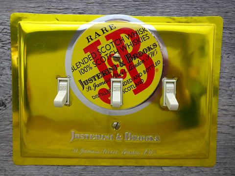 Triple Switch Plates Made From J&B Scotch Liquor Tins 50% Off